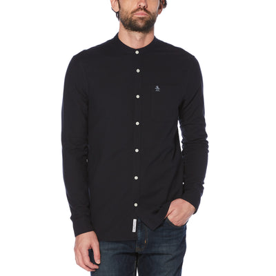GRANDAD COLLAR OXFORD SHIRT IN DARK SAPPHIRE