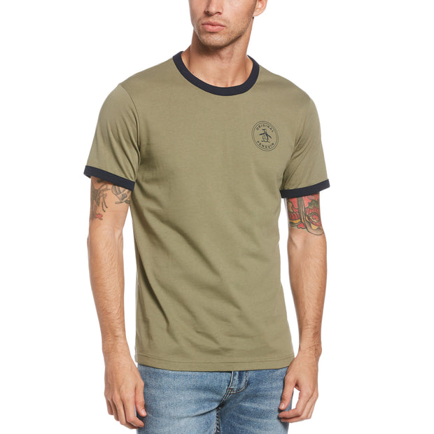 Stamp Ringer Logo T-Shirt In Deep Lichen Green