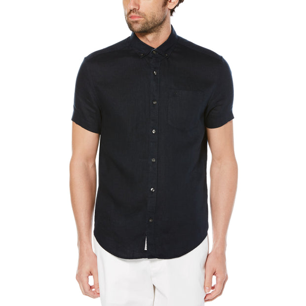 SHORT SLEEVE LINEN SHIRT IN DARK SAPPHIRE