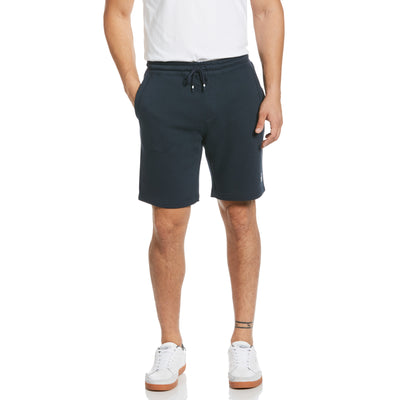 Sticker Pete Fleece Jogger Shorts In Dark Sapphire
