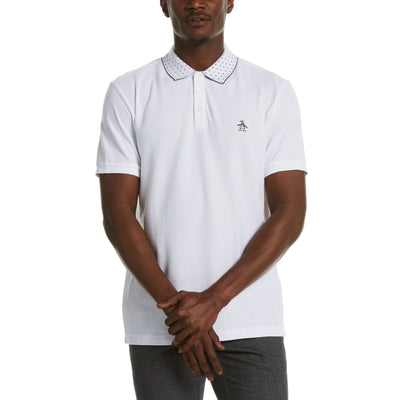 Dot Collar Polo Shirt In Bright White