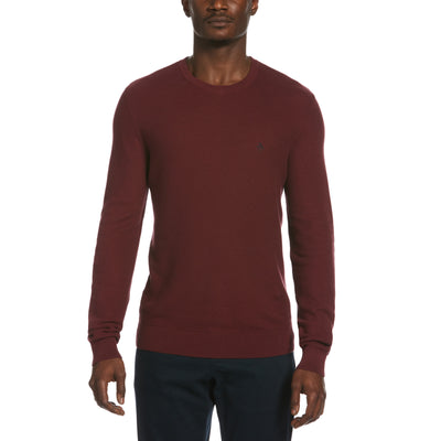 Tuck Stitch Crew Neck Sweater In Tawny Port