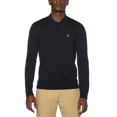 LONG SLEEVE MERINO POLO SWEATER IN DARK SAPPHIRE