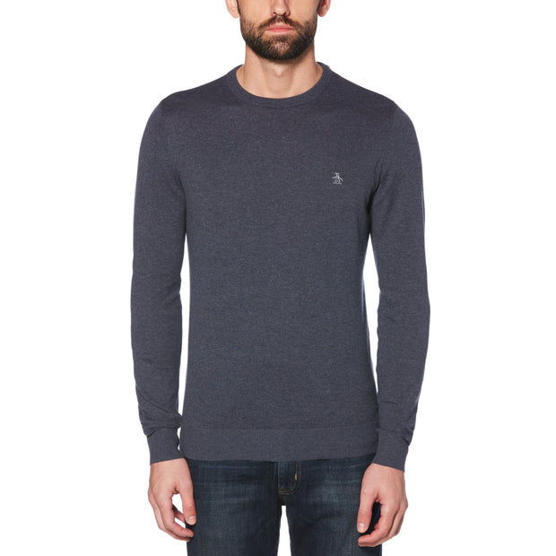 Supima Cotton Crew Neck Sweater In Dark Sapphire