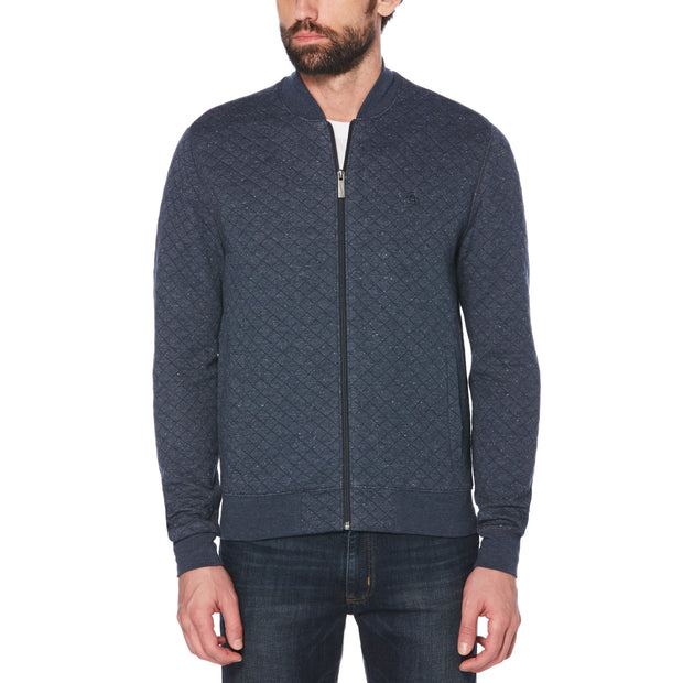 Quilted Nep Bomber Jacket In Dark Sapphire