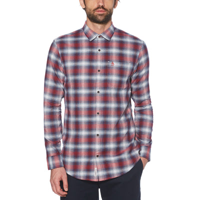 OMBRE PLAID FLANNEL SHIRT IN SCARLET SAGE