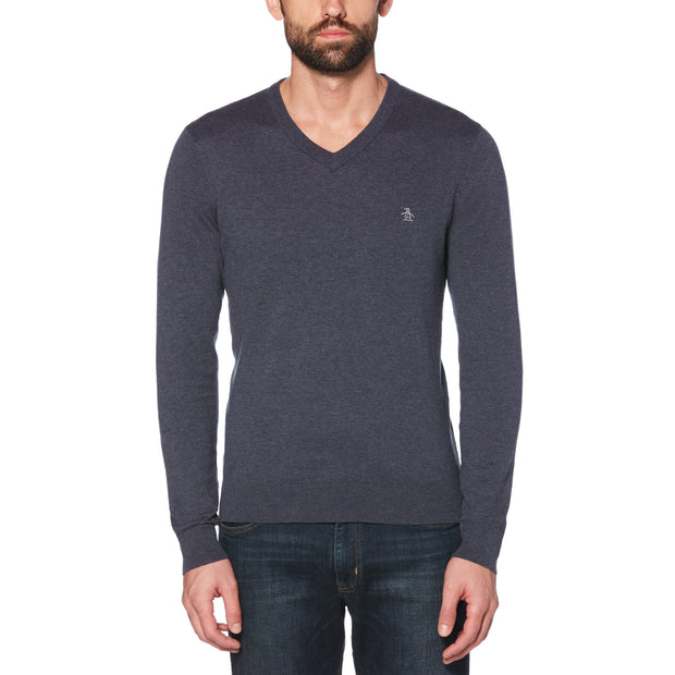 Supima Cotton V-Neck Sweater In Dark Sapphire