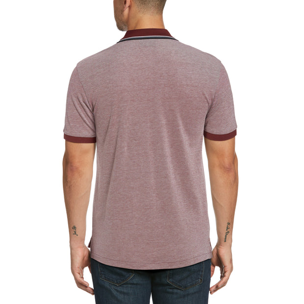Tipped Birdseye Polo Shirt In Tawny Port