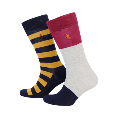 2 PACK HONEY GOLD STRIPED SOCKS IN DARK SAPPHIRE