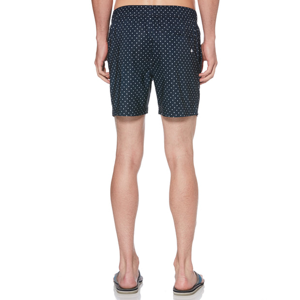 STAR PRINT SWIM SHORTS IN DARK SAPPHIRE