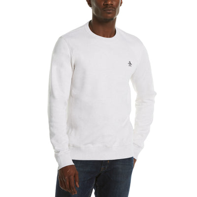 Sticker Pete Fleece Crew Neck Sweatshirt In Light Grey Melange