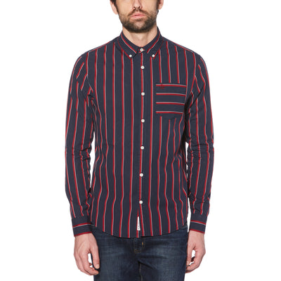 VERTICAL STRIPE SHIRT IN DARK SAPPHIRE