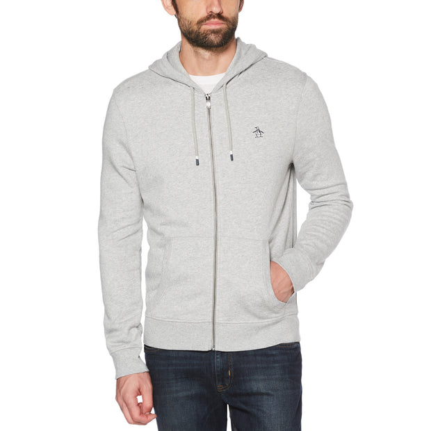 STICKER PETE FLEECE FULL ZIP HOODIE IN RAIN HEATHER