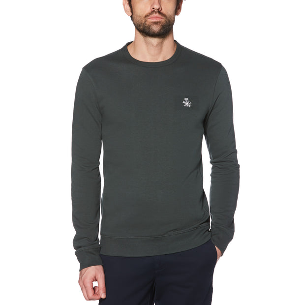 STICKER PETE FLEECE SWEATSHIRT IN DARKEST SPRUCE