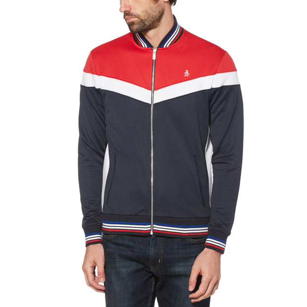 COLOUR BLOCK TRACK JACKET IN LIPSTICK RED