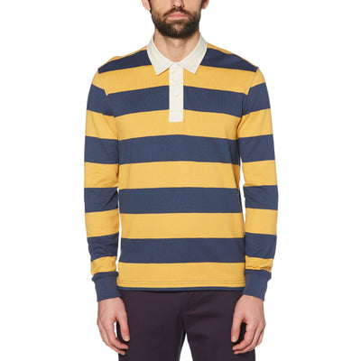 LONG SLEEVE RUGBY SHIRT WITH CONTRAST COLLAR IN HONEY GOLD
