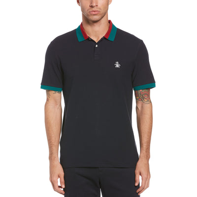 Striped Collar Polo Shirt In Dark Sapphire