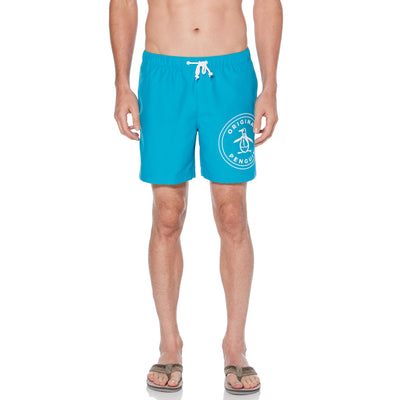 Stamp Logo Swim Shorts In Caribbean Sea