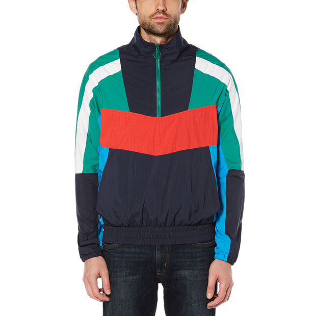 COLOUR BLOCK WINDBREAKER IN DARK SAPPHIRE