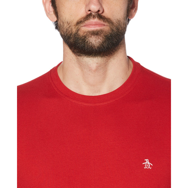 Pin Point Embroidery T-Shirt In Scarlet Sage