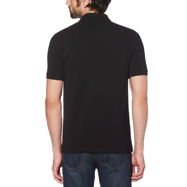 RAISED RIB POLO SHIRT IN TRUE BLACK
