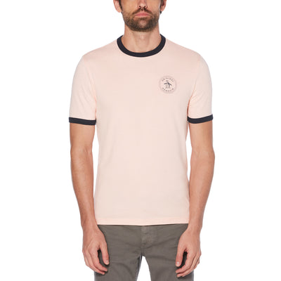 STAMP LOGO RINGER T-SHIRT IN IMPATIENS PINK