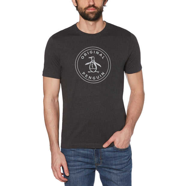 STAMP CIRCLE LOGO T-SHIRT IN DARK CHARCOAL HEATHER