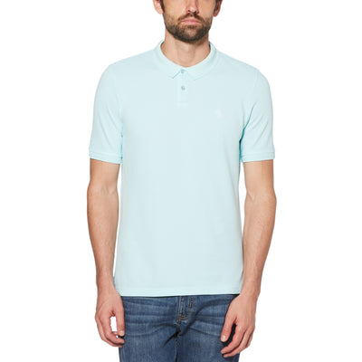 GARMENT DYE POLO SHIRT IN PASTEL BLUE