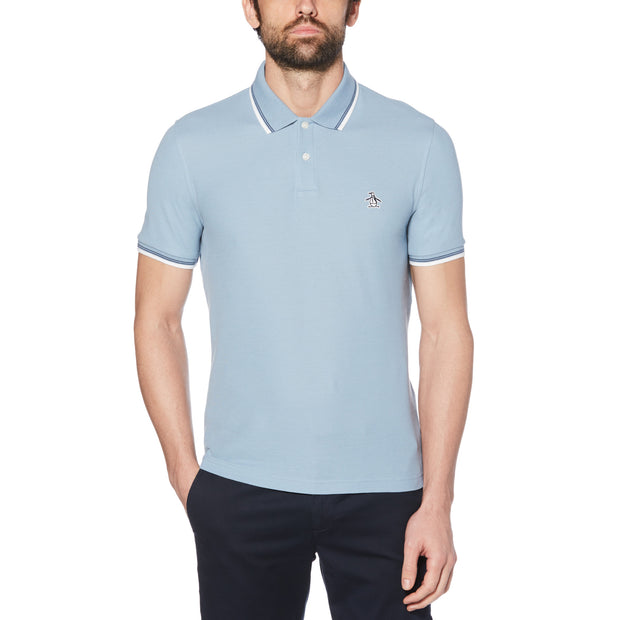 Pique Polo Shirt In Faded Denim