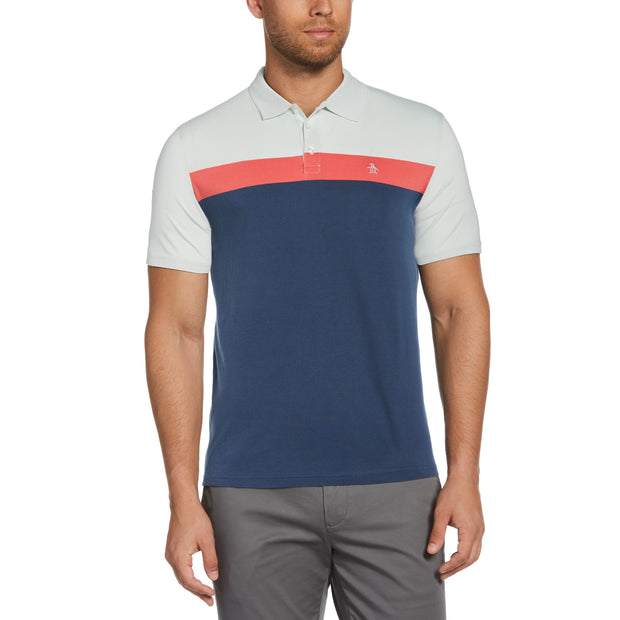 Colour Block Polo Shirt In Pastel Blue