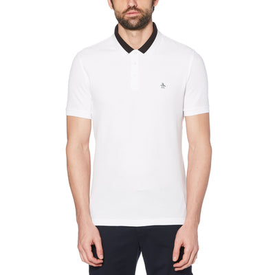 STRIPED COLLAR POLO IN BRIGHT WHITE
