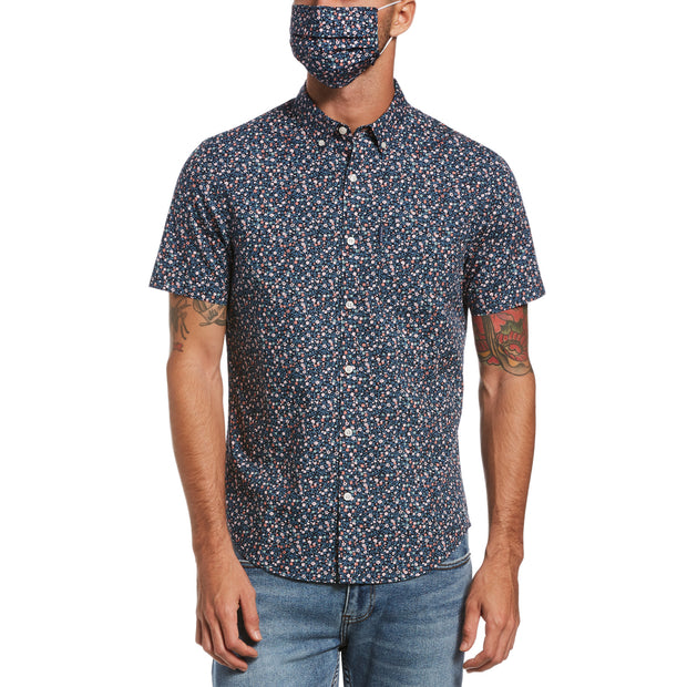 Ditsy Floral Print Short Sleeve Shirt In Dark Sapphire