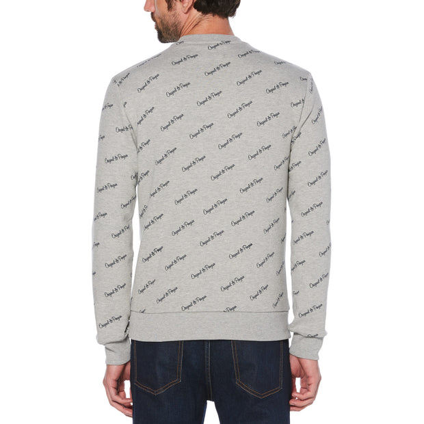 SCRIPT LOGO PRINT SWEATSHIRT IN RAIN HEATHER