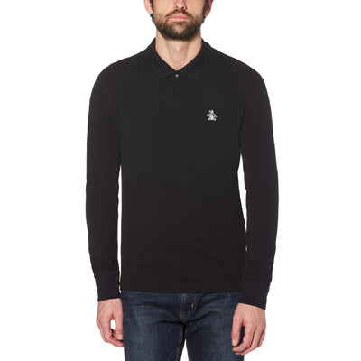 Raised Rib Long Sleeve Polo Shirt In True Black