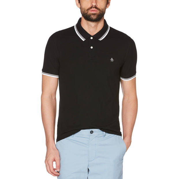 56 TIPPED PIQUE POLO SHIRT IN TRUE BLACK