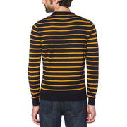 STRIPE MERINO CREW SWEATER IN BUCKTHORN BROWN