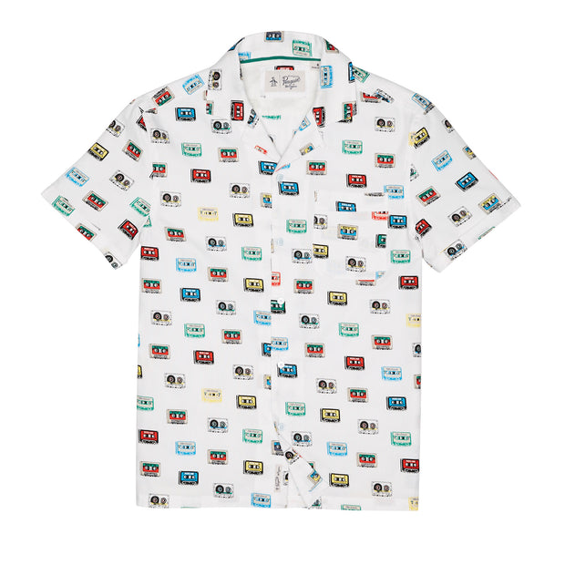 CASSETTE DOBBY SHIRT IN BRIGHT WHITE