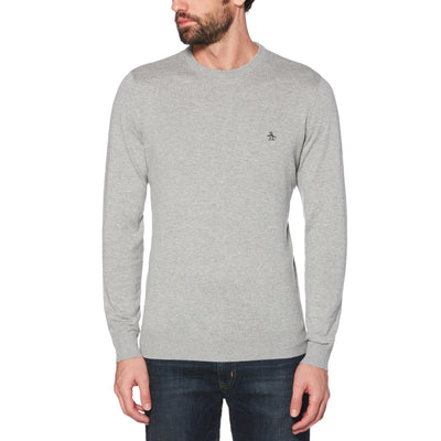 SUPIMA COTTON CREW NECK SWEATER IN RAIN HEATHER