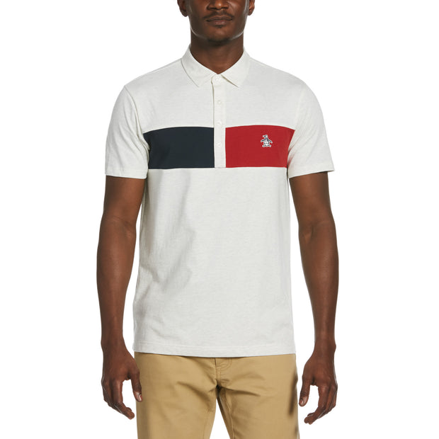 Colour Block Chest Stripe Polo Shirt In Light Grey Melange