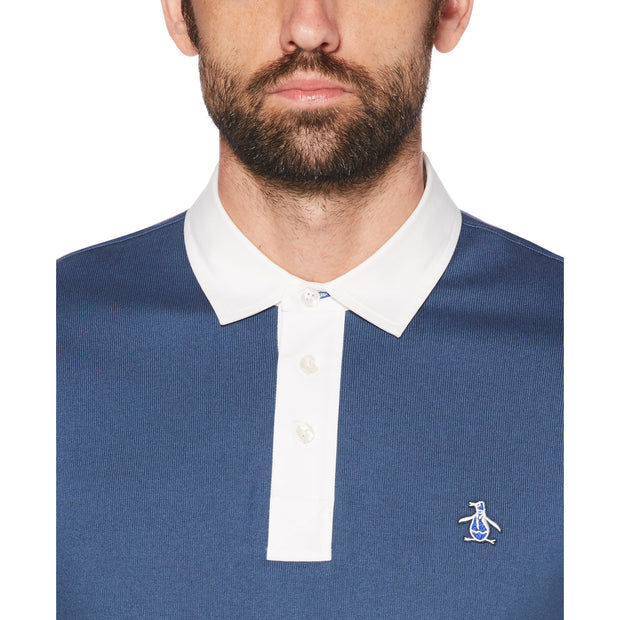 RUGBY STYLE POLO SHIRT IN DARK DENIM