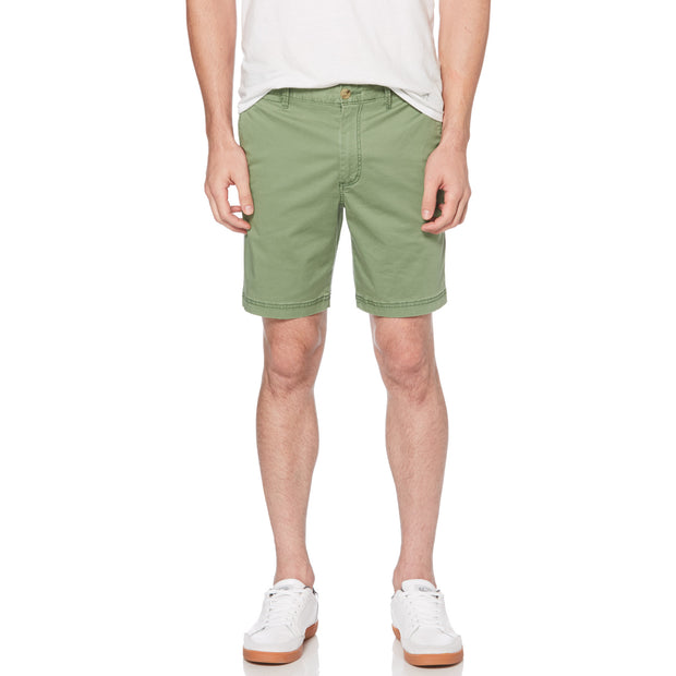 WASHED POPLIN SLIM FIT SHORTS IN ELM GREEN