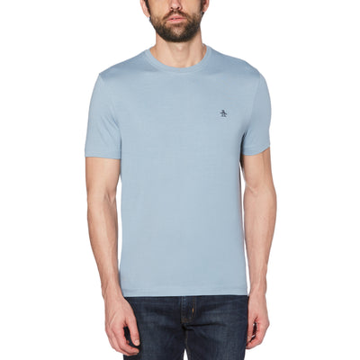 PIN POINT EMBROIDERY T-SHIRT IN FADED DENIM