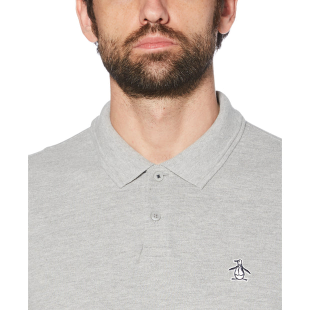 Raised Rib Long Sleeve Polo Shirt In Rain Heather