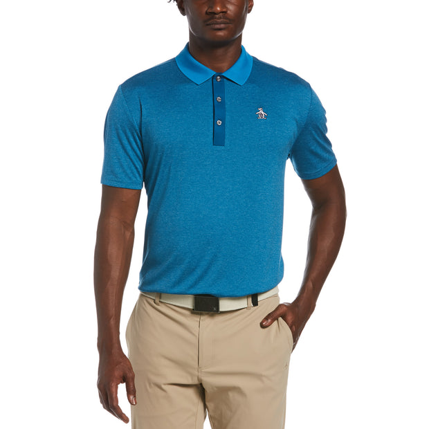 Three Strokes Golf Polo In Mykonos Blue