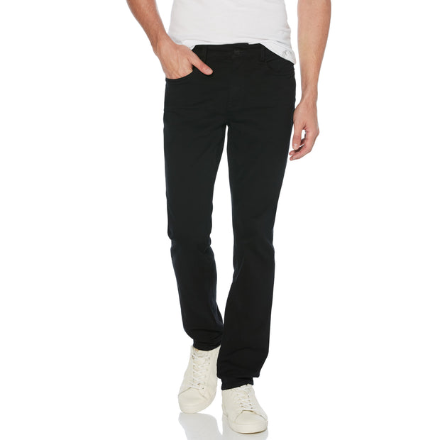 COLOURED SLIM FIT 5 POCKET JEANS IN TRUE BLACK