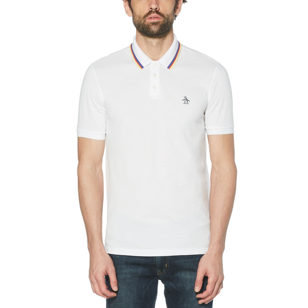 Tipped Birdseye Pique Polo Shirt In Bright White