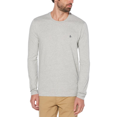 PIN POINT LONG SLEEVE T-SHIRT IN RAIN HEATHER