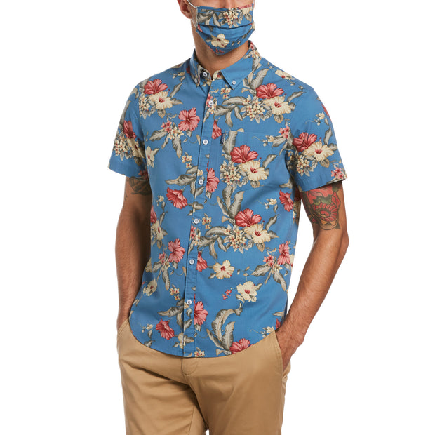 Floral Print Short Sleeve Shirt In Copen Blue