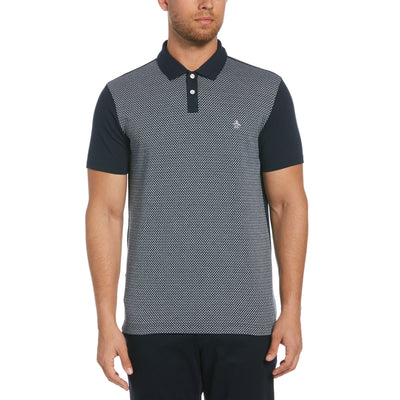 Jacquard Front Polo Shirt In Dark Sapphire