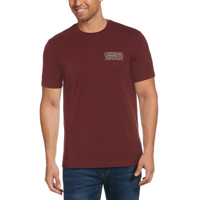 Embroidered Stacked Logo T-Shirt In Tawny Port
